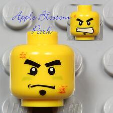 NEW Lego City MINIFIG HEAD Boy w/Black Goatee Beard & Scar - Power Miners/Police