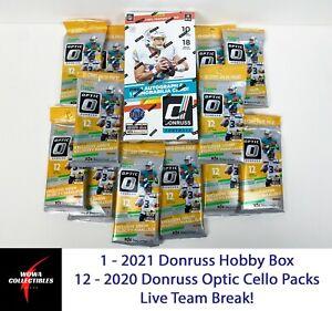 NEW ENGLAND PATRIOTS 2021 Donruss Football Hobby Box 2020 Optic Team Break Jones