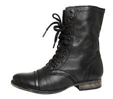 Steve Madden Troopa Leather Boot Black Women Sz 7.5 M 4016 *
