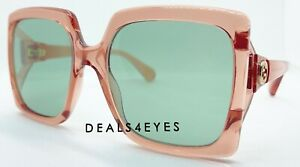 New Authentic Gucci GG0876S 003  Pink Green Lens Oversized Sunglasses 60 mm