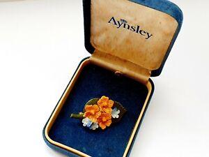 Vintage Bone China AYNSLEY Flowers Brooch Boxed