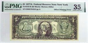 Series 1977 A $1 FRN New York Fr#1910-B Offset Printing Error Note PMG Ch VF35