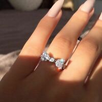 Women Fashion 925 Silver White Sapphire Bow Ring Wedding Engagement Jewelry Gift