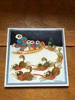 Artist Signed Eskimo Mother & Three Kids on Dog Sled in Snow Square Pottery Tile