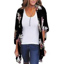 Womens Floral Short Sleeve Chiffon Loose Shawl Kimono Cardigan Tops Shirt Blouse