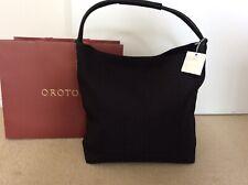 BRAND NEW OROTON Stencil Hobo Large Handbag Leather Canvas Black RRP $495