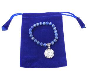Lapis Gem Stone Bracelet with Flower of Life Charm w/ Velvet Bag