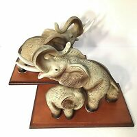 """ELEPHANT BOOKENDS SET OF 2 MOTHER & BABY 8 3/4""""W. CERAMIC & WOOD TAN VINTAGE"""
