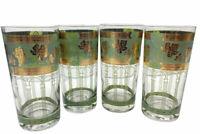 Vintage Set of 4 Cera Roman Arch Grape & Leaf Tumblers 22 K Gold Trim EUC 12 OZ.