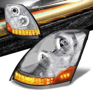 Chrome Housing Clear Lens LED Trailer Headlight For 04-18 Volvo VN/VNL Diesel