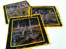 x3 COPRI CUSCINI VELLUTO NERO FRANGE Vintage originali 60s Made UK Pillow cover