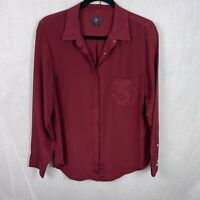 J Crew 365 Red 100% Silk Blouse Button Front Top Long Sleeve Women's Size 12