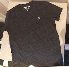 Eccellente ABERCOMBIE & FITCH S da Uomo Adolescente giovani adulti Grigio T shirt GRATIS