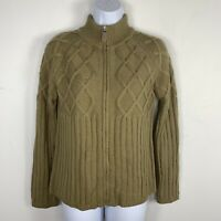 Mango Womens Sweater Sz M Brown Zip Front Cable Knit Acrylic Cardigan New SX74