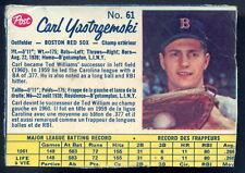 1962 POST BASEBALL CANADIAN #61 CARL YASTRZEMSKI VG-EX Boston Red Sox card