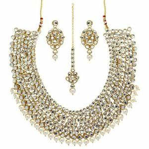 Gold Plated Traditional Kundan Pearl Bridal Jewellery Set for Women white a1199