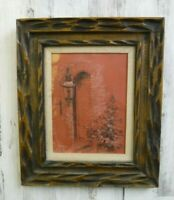 Vintage Retro MEXICAN CARVED WOOD Burlap Liner  Picture FRAME 19 x 16 fit Signed