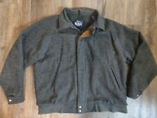Mens Vtg WOOLRICH Charcoal Gray 100% Wool Plaid Lined Bomber Jacket XL USA Made