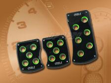 3PCS BLACK GREEN MANUAL BRAKE GAS CLUTCH RACING PEDAL PADS FOR CARS 1993-1999