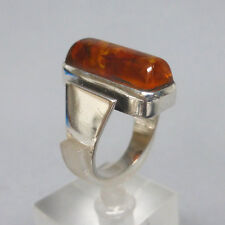 ❂ ► Hochwertiger Bernstein- Ring, Silber 800, moderner Entwurf, gemarkt CNP