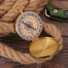 Brass Mini Pocket Watch Compass Camping Outdoor Navigation EDC Survival Tool Kit