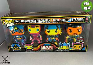 Funko POP! Marvel Captain America Iron Man Thor Doctor Strange - Blacklight- NEU