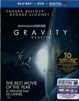 NEW BLU-RAY + DVD // GRAVITY //  SANDRA BULLOCK, GEORGE CLOONEY