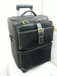 Real LEATHER Suitcase Luggage Exclusive Weekend Cabin Travel Trolley Bag