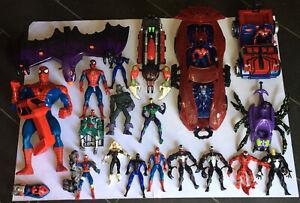 Vintage 90s Spiderman Toybiz Bundle,5 Vehicles,14 figures,accessories,other,RARE