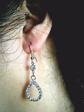 Sterling Silver Plated Clear Crystal Tear Drop Dangle Earrings