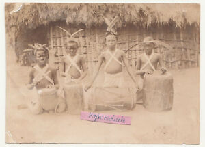 Photo Africa Colony Wasnaheli Boys With Tanztrommeln Native American People