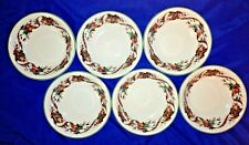 "6 William James 8"" Fine Stoneware Christmas Holiday Plaid Ribbon & Fruit Bowls"