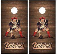 Patriots Throwback Vintage Wood Cornhole Board Decal Wrap Wraps (brown)