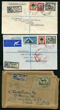 South Africa 1947-57 Registered Covers to Australia x 3