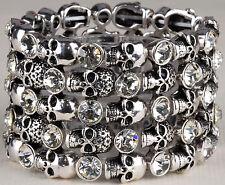 Skull Skeleton Stretch Bracelet Cuff Silver Crystal Punk Biker Halloween BD01