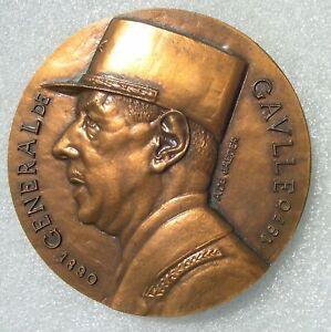 GROSSE MEDAILLE GENERAL DE GAULLE graveur De Jaeger  diamètre 9cm