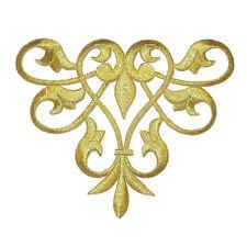 Iron On Applique - Decorative Swirl Metallic Gold