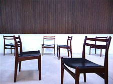 Set of 6 tourism RØjle Leather Dining Chairs Teak Danish Modern Leather chairs 1960s
