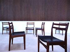 6x Set røjle VINTAGE Dining Chair TEAK LEATHER SEDIA PELLE Denmark | 60er 1960s