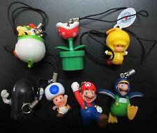 "Super Mario Bros Mario Keychains Keyring figure set/7pcs 1""-2"" tall"