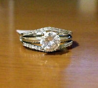 14k Yellow Gold Solitaire Enhancer Diamonds Ring Guard Wrap Wedding Band NEW