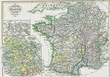 Echte 163 Jahre alte Landkarte FRANKREICH Merowinger Illuminati Prieuré 1854