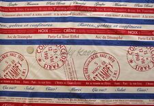 Yuwa Suzuko Koseki Dessert Post Stripe Red Blue Tan Japanese Fabric Half Yard