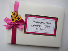 PERSONALISED WEDDING GUEST BOOK WITH SUNFLOWERS (PINK) - ANY COLOUR