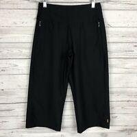 LUCY Womens Black Wide Leg Crop Capri Pants Size XS Zip Pockets