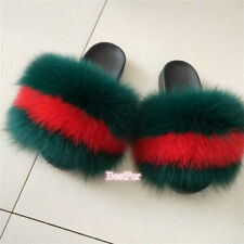 Red/Green-Max Large XXL Real Fox Fur Slides Womens Slippers Sandals Furry Shoes