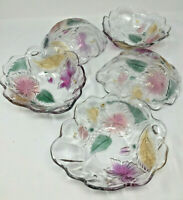 Mikasa Studio Nova Crystal Hibiscus Floral Glass Salad/Fruit Serving Bowl Set 5