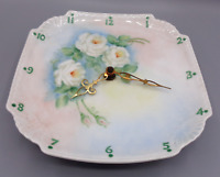 Vintage Hand Painted Plate Clock Porcelain Floral Flower Design White Flowers