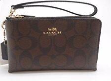 Authentic Coach F87591 Double Corner Zip Wristlet Wallet Black