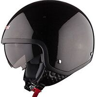 LS2 OF561 WAVE OPEN FACE SCOOTER HELMET WITH DROP DOWN SUN VISOR  GLOSS BLACK
